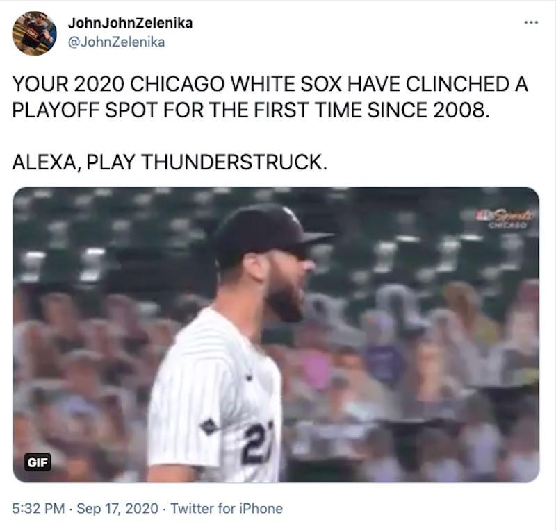 Tweet about Chicago White Sox in playoffs
