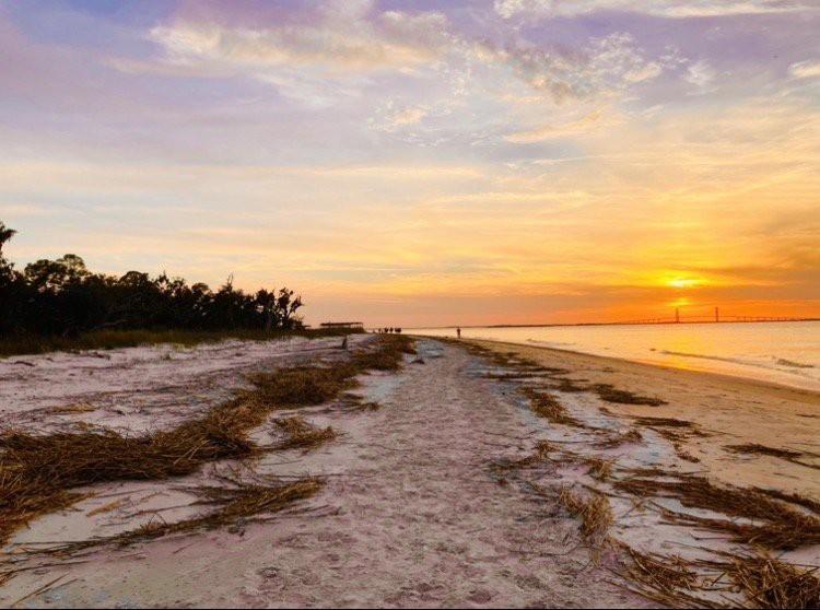 Sunset at Jekyll Island dog friendly beach