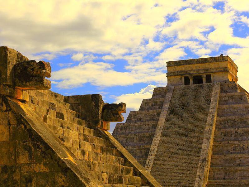 Mayan Chichen Itza Pyramid and Platform sunset - Mexico