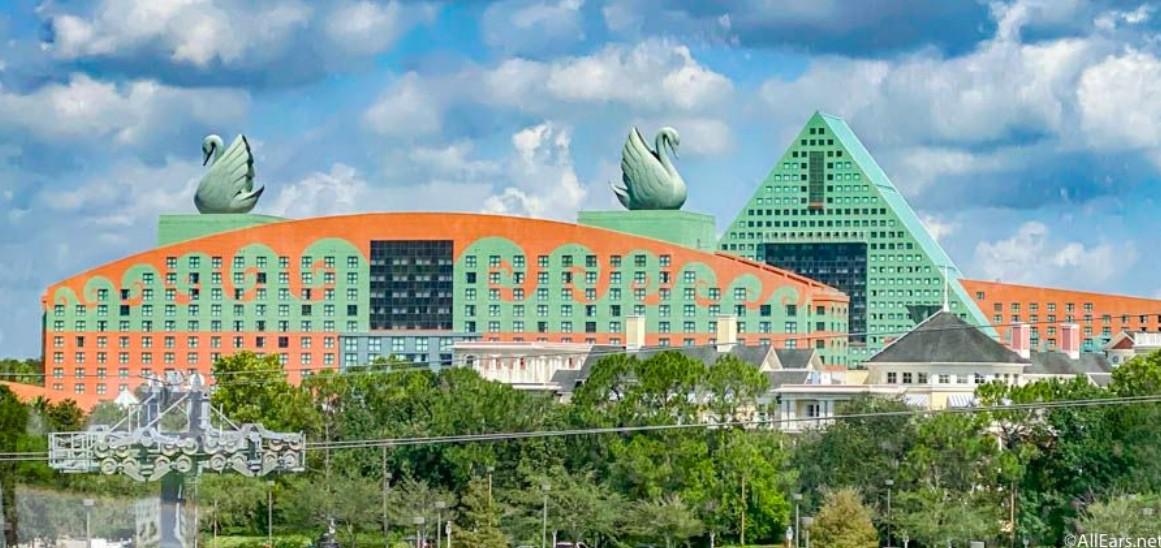 View from afar of Walt Disney World Swan Hotel