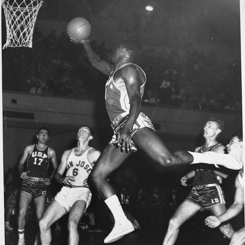 K.C. Jones of San Francisco Dons goes up for layup