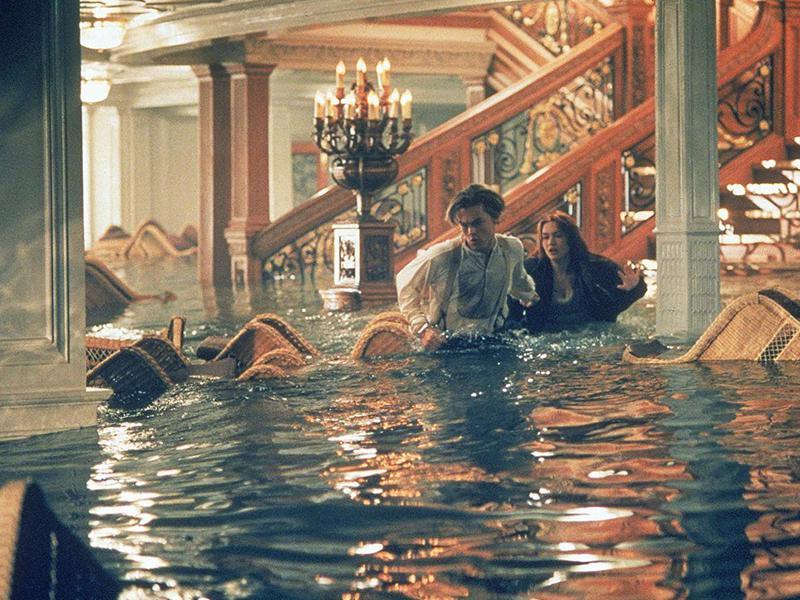 "Sinking of the Titanic from ""Titanic"" with Leonardo DiCaprio"