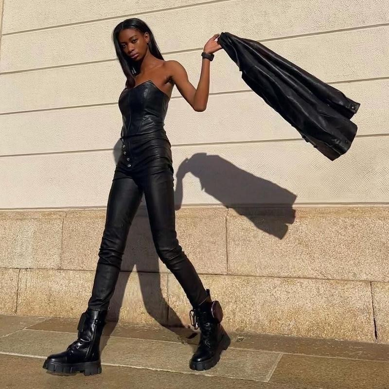 Model in all leather outfit
