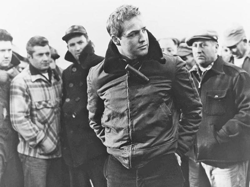Marlon Brando looking out in On the Waterfront