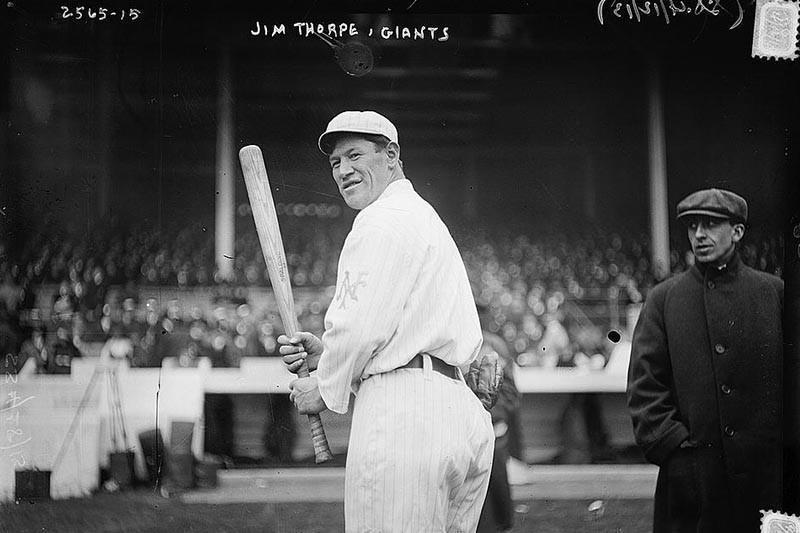 Jim Thorpe playing baseball