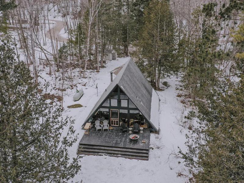 Airbnb Aframe cabin in Michigan