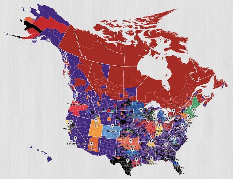 NBA fan map