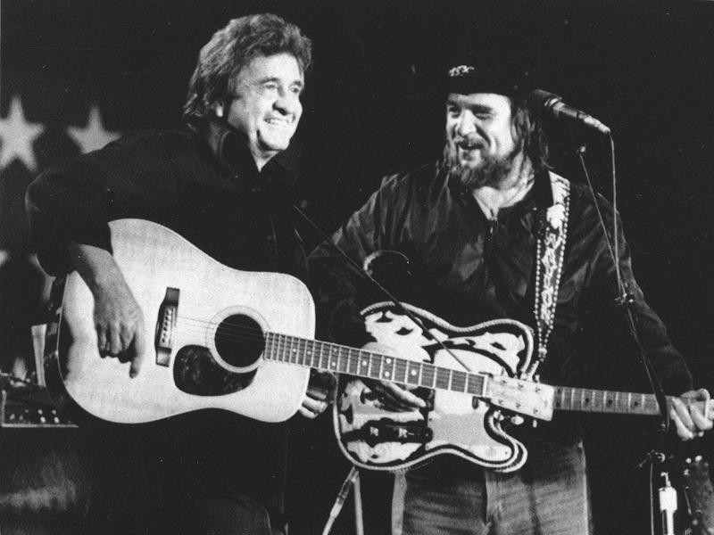 Johnny Cash and Waylon Jennings