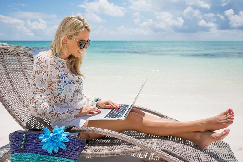woman working on beach
