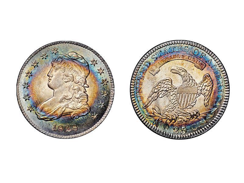 1828 B-3 25/5/50 Error Reverse Capped Bust Quarter