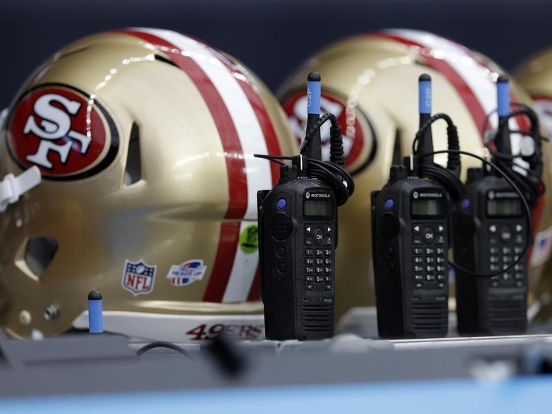 NFL football helmets and radios