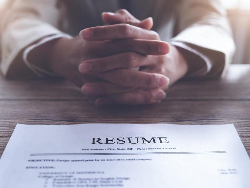 Professional resume on table