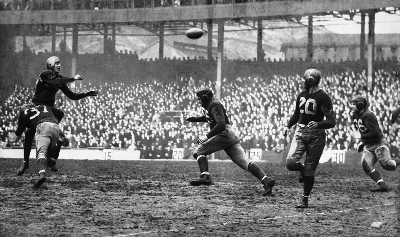 Sam Baugh passing for the Washington Redskins