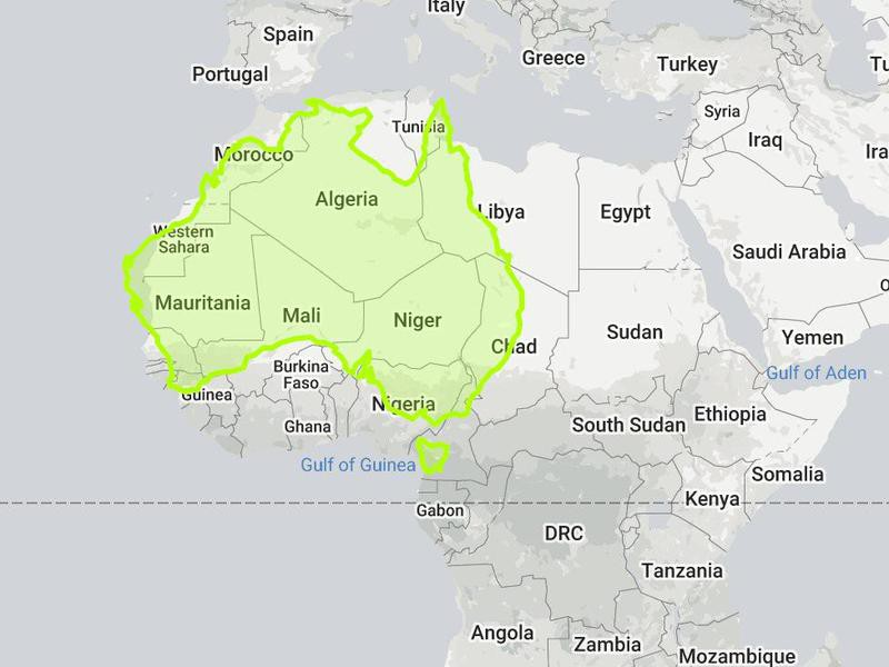 Australia compared to Africa