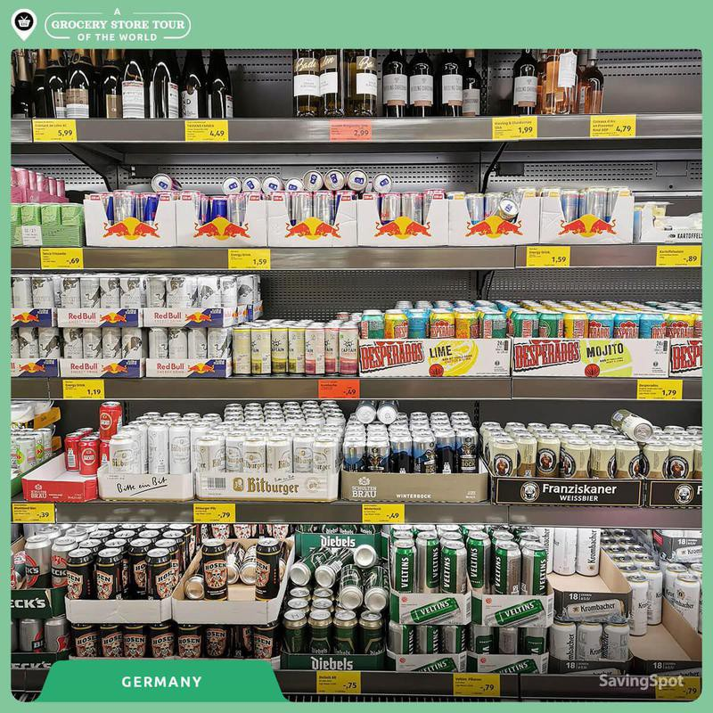 Beer and beverages in a German grocery store