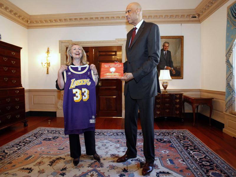 Hillary Clinton and Kareem Abdul-Jabbar