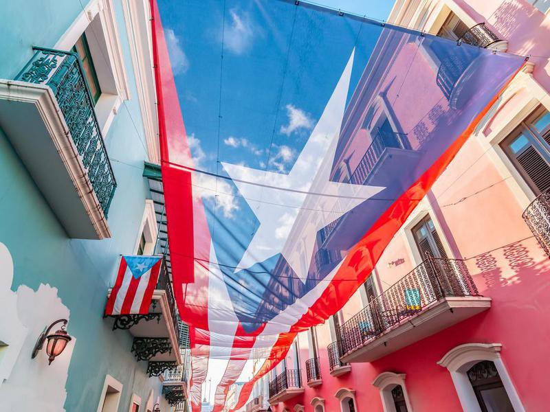 Colorful image of city centre of San Juan