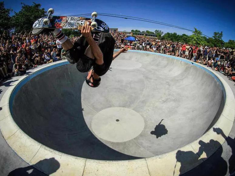Tony Hawk getting air at Ann Arbor Skatepark in Ann Arbor, Michigan