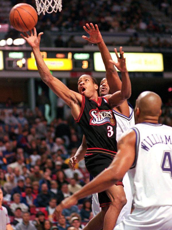 Allen Iverson drives to basket