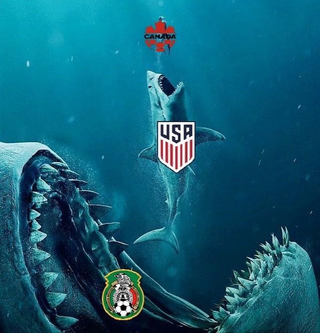 Mexico, the Biggest shark eating USA shark who eats Canada