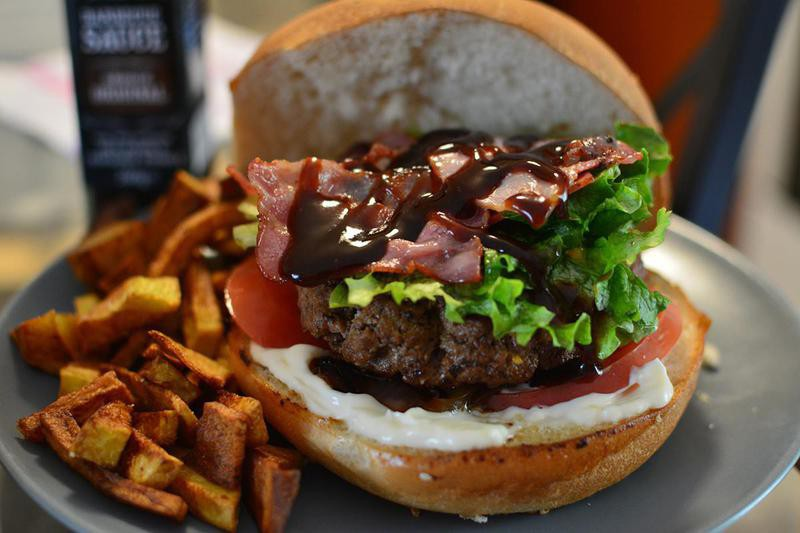 BBQ Sauce on top of burgers