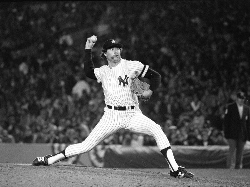 """New York Yankees ace relief pitcher Rich """"Goose"""" Gossage hurls pitch"""
