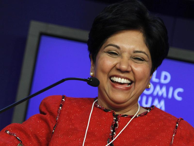 PepsiCo CEO Indra Nooyi smiles at the World Economic Forum in Davos, Switzerland in 2011. She's been CEO of the company since 1996.