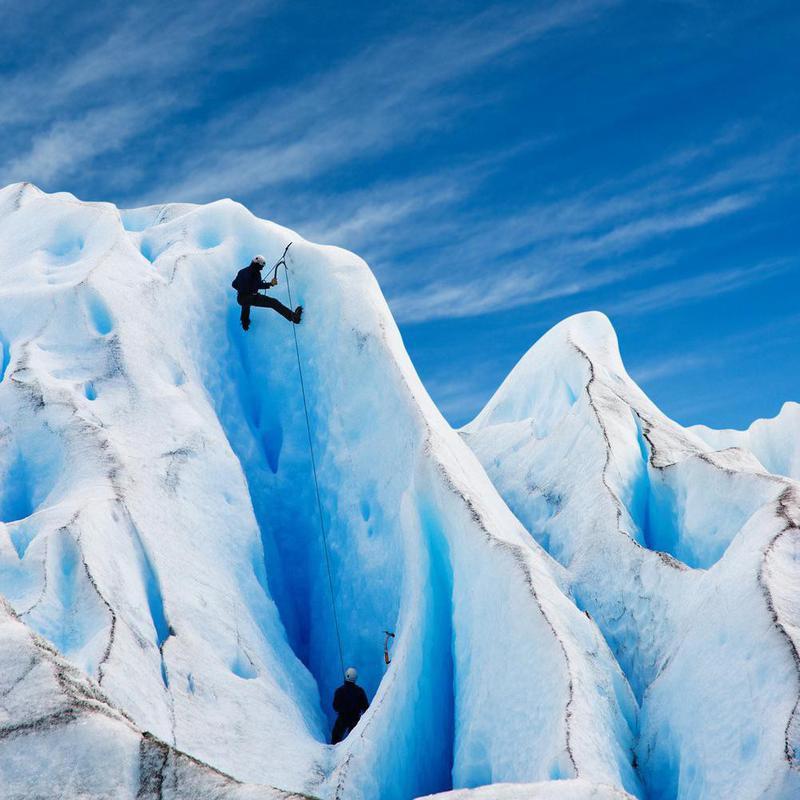 Climbers at Perito Moreno Glacier in Patagonia, Argentina.
