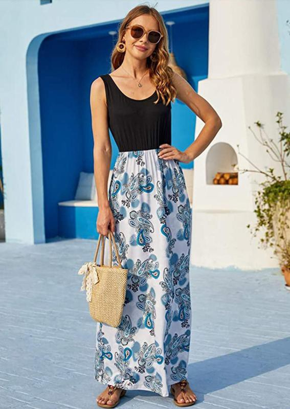 Sherosa Women Boho Summer Sleeveless Maxi Dress
