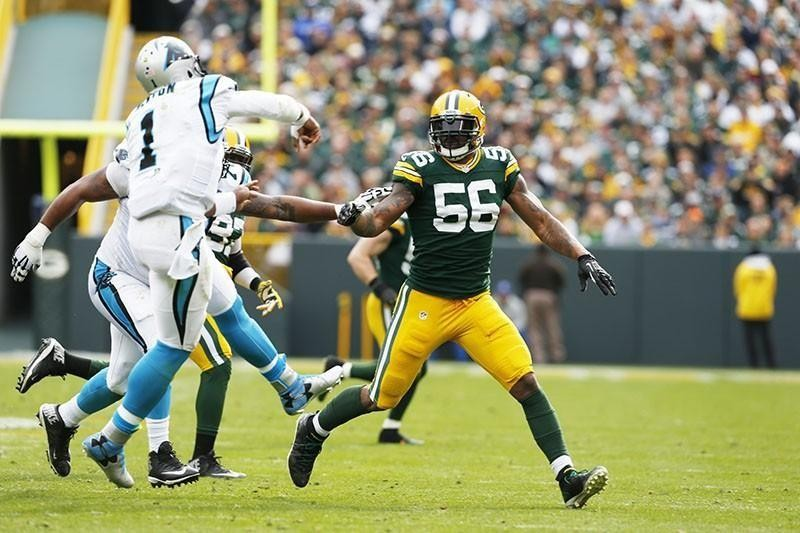Julius Peppers playing for the Green Bay Packers