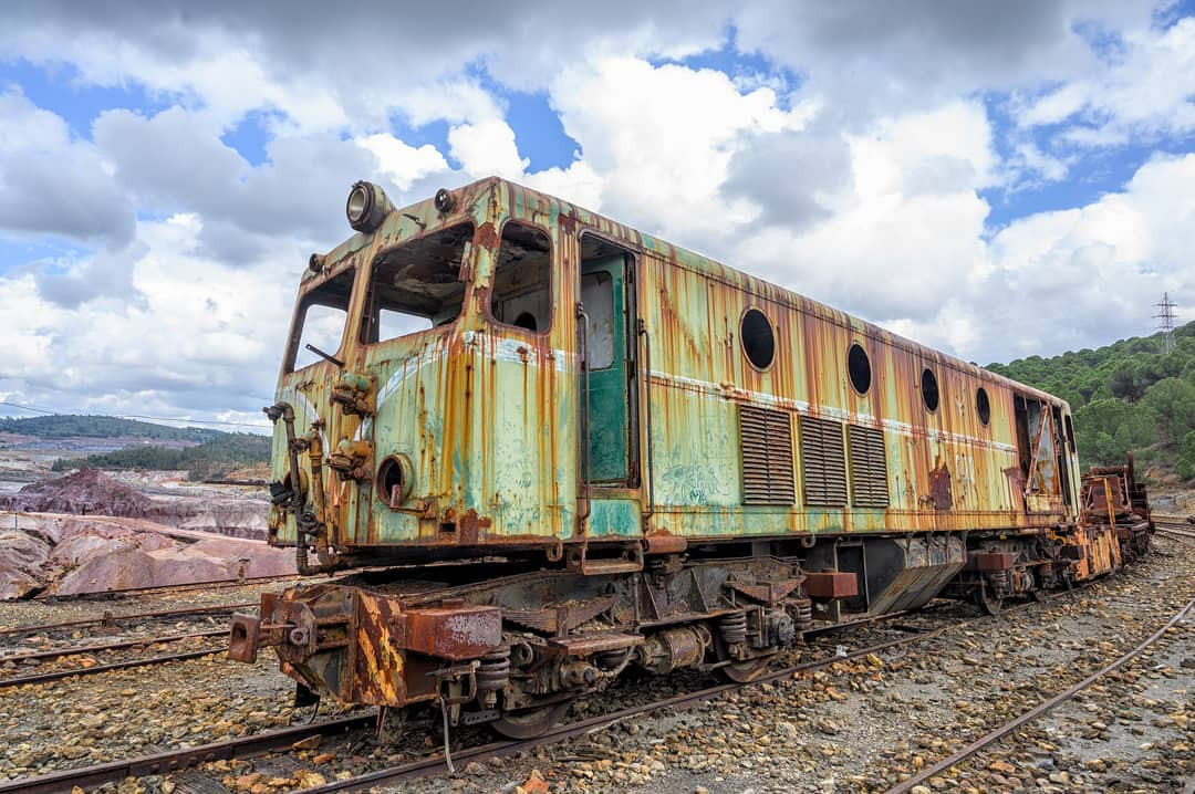 Abandoned, rusting wagon in the abandoned mines of Rio Tinto, Spain