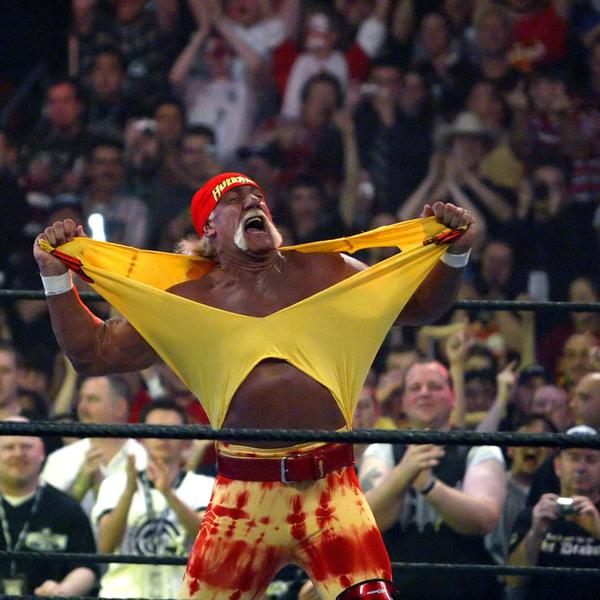 Hulk Hogan fires up the crowd between matches during WrestleMania 21 at the Staples Center in Los Angeles on Sunday, April 3, 2005.