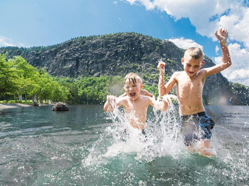 Boys having summer fun on Moosehead Lake