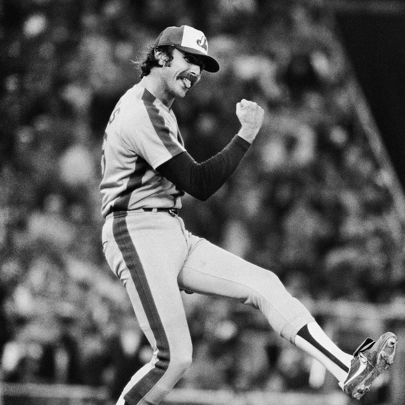 Steve Rodgers reacts to Expos 3-0 victory