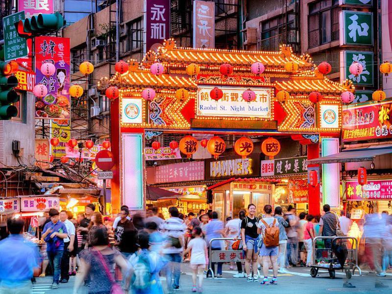 Raohe Street Night Market in Taipei, Taiwan.