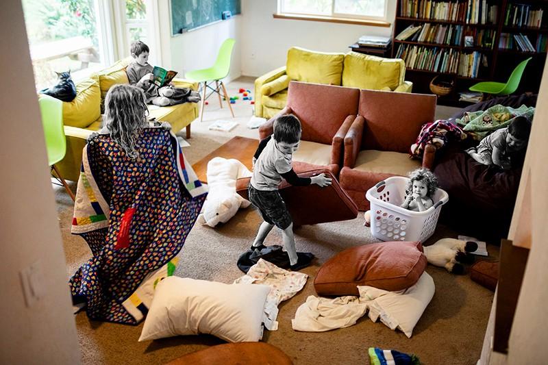 five children making a mess