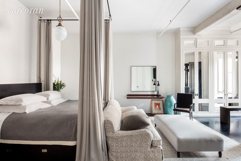 NYC loft master bedroom