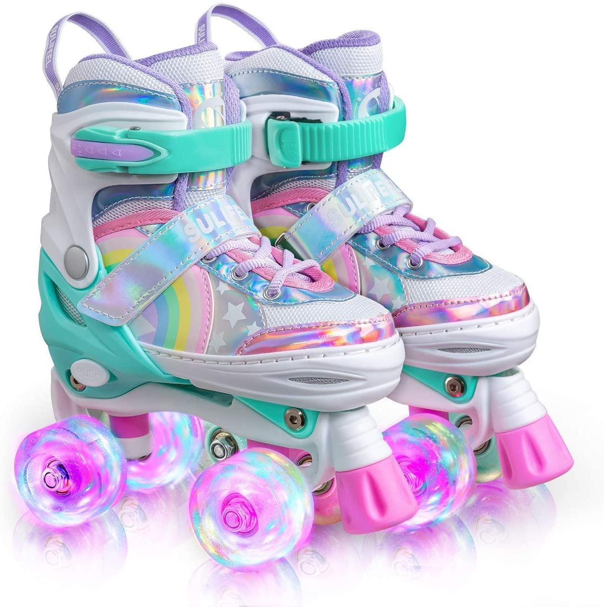 Sulifeel Rainbow Unicorn 4 Size Adjustable Light up Roller Skates
