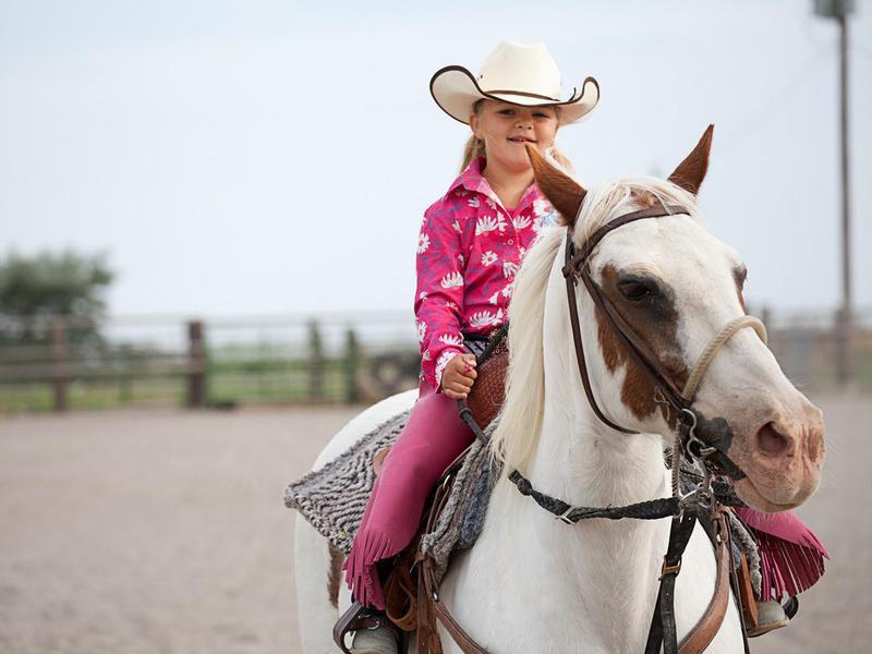 Little Girl Riding Paint Horse