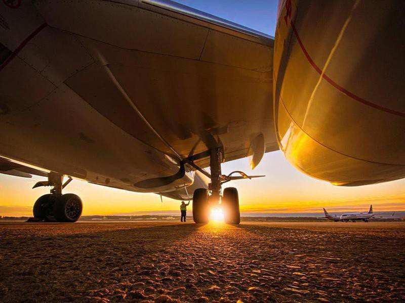 American Airlines aircraft during sunset