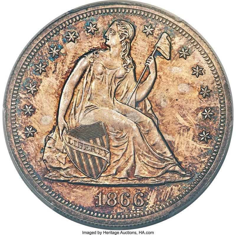 1866 No Motto Seated Liberty Dollar