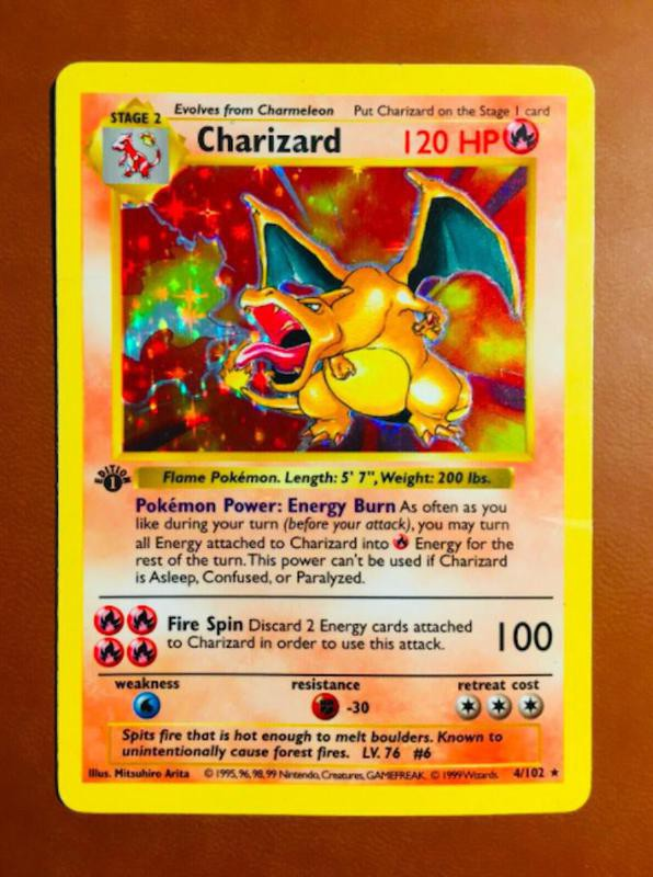 1999 Charizard First Edition Shadowless