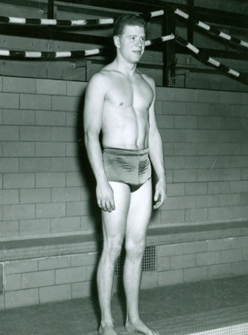Clarke Scholes at edge of pool