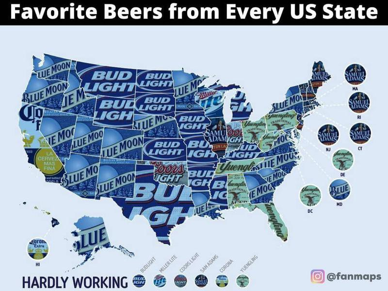 Map of favorite beer by state