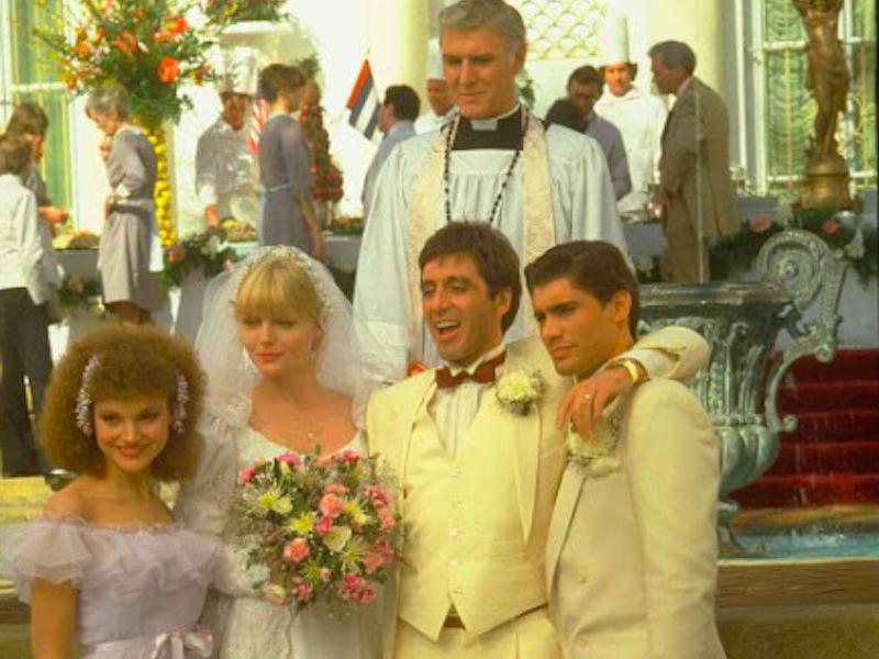 Al Pacino, Michelle Pfeiffer, Steven Bauer, Mary Elizabeth Mastrantonio, and Michael Rougas in Scarface
