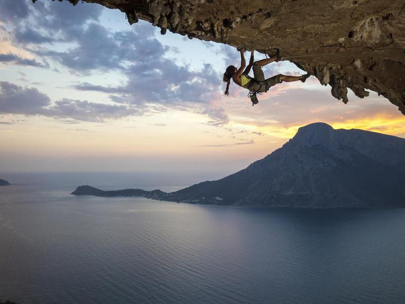 Climber at Kalymnos Island, Greece