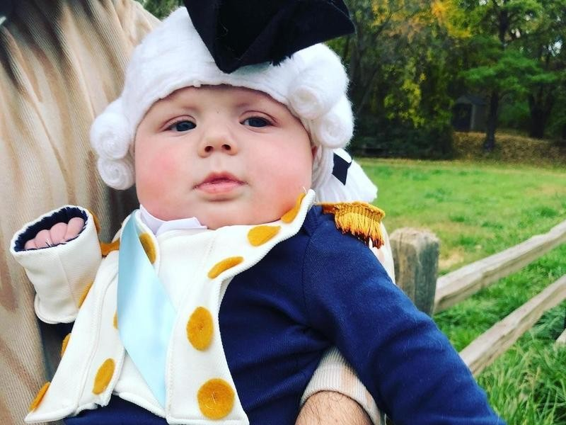 Baby dressed up like George Washington