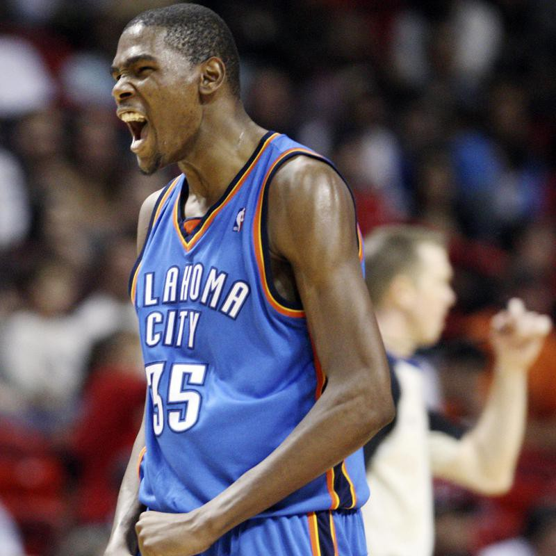 Oklahoma City Thunder's Kevin Durant after making two-point shot