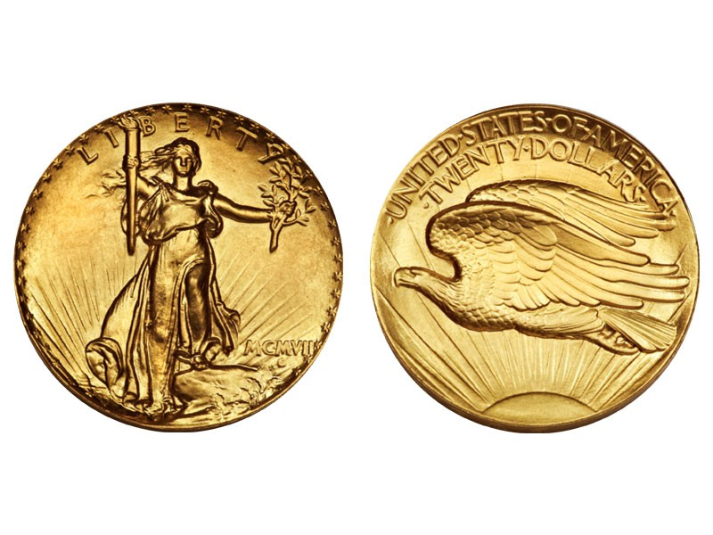 1907 Saint-Gaudens Ultra High Relief Double Eagle Inverted Edge Letters