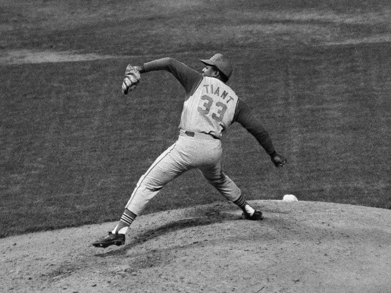 Cleveland Indians' Luis Tiant pitches